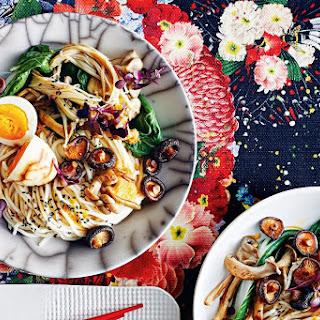Vegetarian Mushroom Noodles With Tea-marbled Eggs