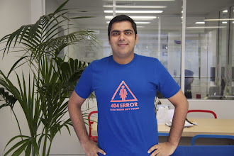 Photo: Piyush kicking it in classic geek shirt style.