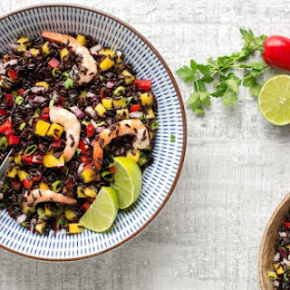 Black Rice Salad with Shrimp & Mango Salsa.