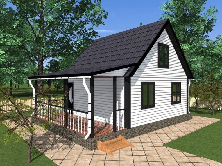 Проект одноэтажного дома из бруса с террасой «Заречье» (6х8)+чердачное помещение