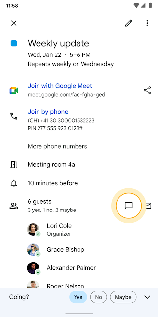Chat with event attendees directly from the Calendar event on mobile devices