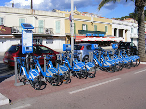 Photo: Nice now has its own bicycle rental system like Paris' Velib, here called Velobleu.