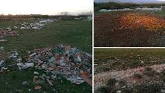 Desechos de construcción y agrícolas (izq. y arriba) en las inmediaciones de las balsas de salazón; y restos visibles de una de las balsas (abajo).