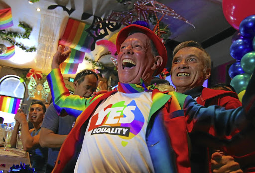 Members of Sydney's gay community celebrate the news that the majority of Australians supported same-sex marriage in a national survey, on November 15 2017. Picture: REUTERS