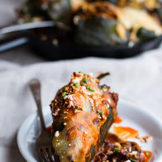 Turkey Enchilada Stuffed Poblano Peppers.