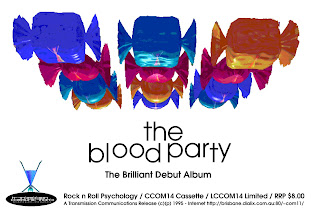 Photo: Poster for CCOM14, Blood Party - Rock n Roll Psychology, released Oct 1995. Design by Dennis Remmer.