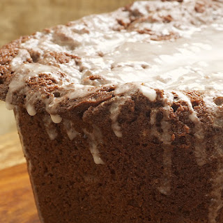 Chocolate Pound Cake with Vanilla Glaze.