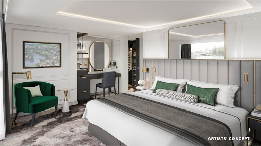 crystal-river-deluxe-bedroom.jpg - Crystal's new river ships will feature all-suite accommodations located above the waterline (digital rendering).