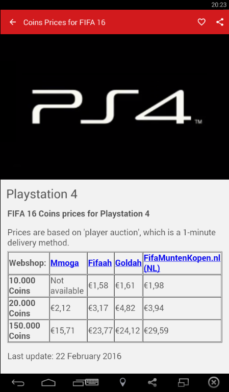Prices of FIFA 16 Coins- screenshot
