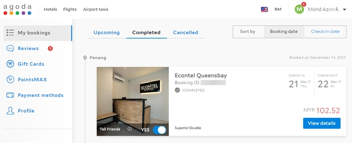 Rekod booking Econtel Hotel mengunakan Agoda.