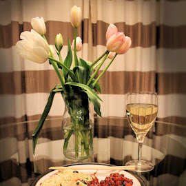 Dinner For One by Lena Arkell - Food & Drink Plated Food ( glass, chop sticks, chinese food, tulips, dinner, wine )