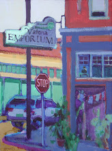 Photo: Valona Emporium, Crockett, acrylic by Nancy Roberts, copyright 2014. Private collection.