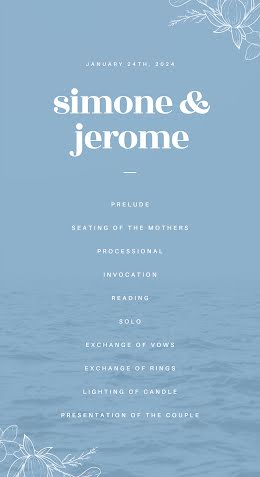 Simone & Jerome Ceremony - Wedding Program item