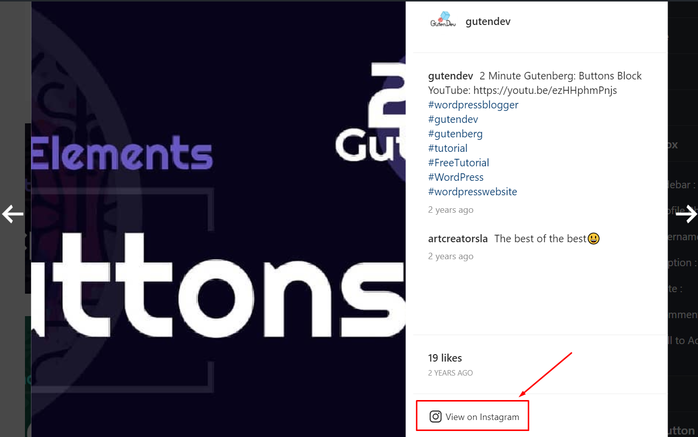 Display Call to Action Button Instagram settings