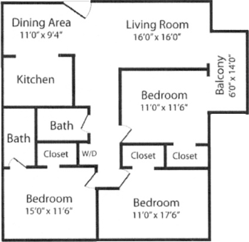 Go to Three Bed, Two Bath Floorplan page.