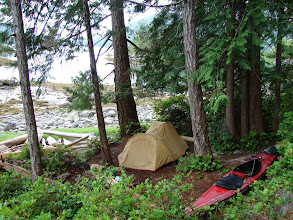 Photo: Campsite at north tip of North Rendezvous Island.