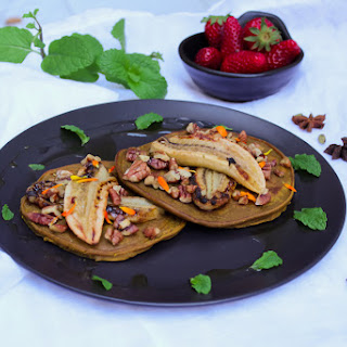 Spiced Pumpkin Pancakes with Grilled Banana and Candied Pecans