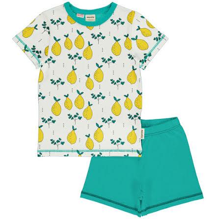 Maxomorra Pyjamas Set SS Leafy Lemon