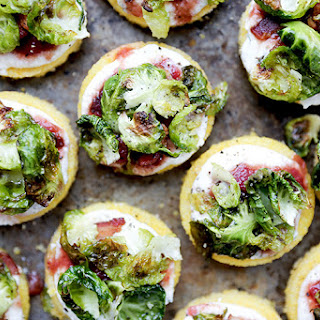 Polenta Bites with Crispy Brussels Sprout Leaves, Ricotta and Chutney.
