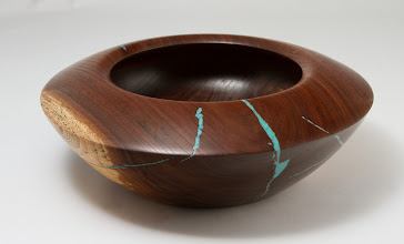 "Photo: Mike Colella 9"" x 3"" bowl [walnut, turquoise]"