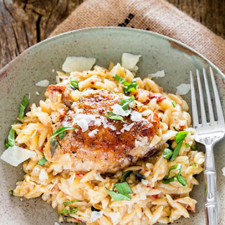 Creamy Chicken, Orzo and Sun Dried Tomato Skillet Dinner.