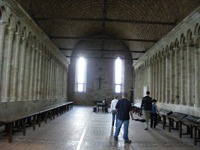 """Photo: Here now in the Monks Refectory, their central location for meals and the reading of spiritual texts. Many features, from its wide barrel-vaulted ceiling, to the """"hidden"""" side windows providing much of the light, make it an architectural wonder of its time."""