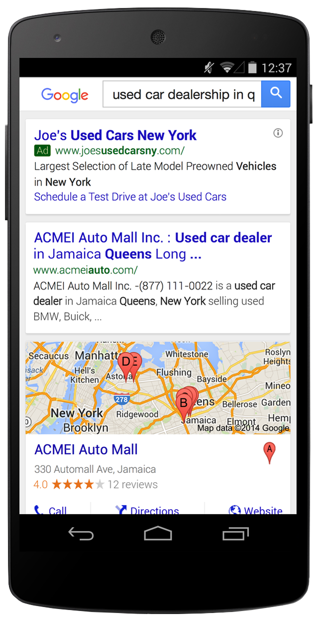 Example of an ad with dynamic sitelinks on a mobile device.