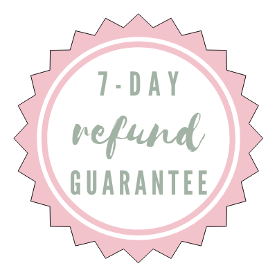 Sticker that shows 7 day refund guarantee