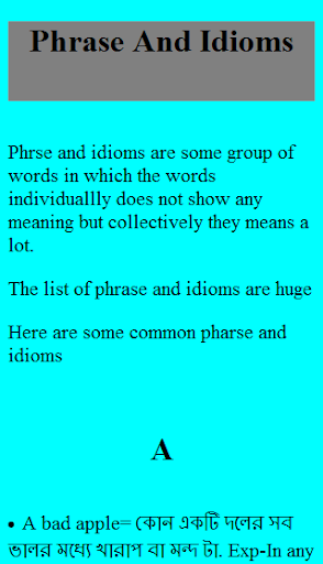 Phrase And Idioms