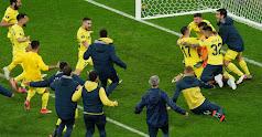 Los jugadores del Villarreal estallan tras la victoria.
