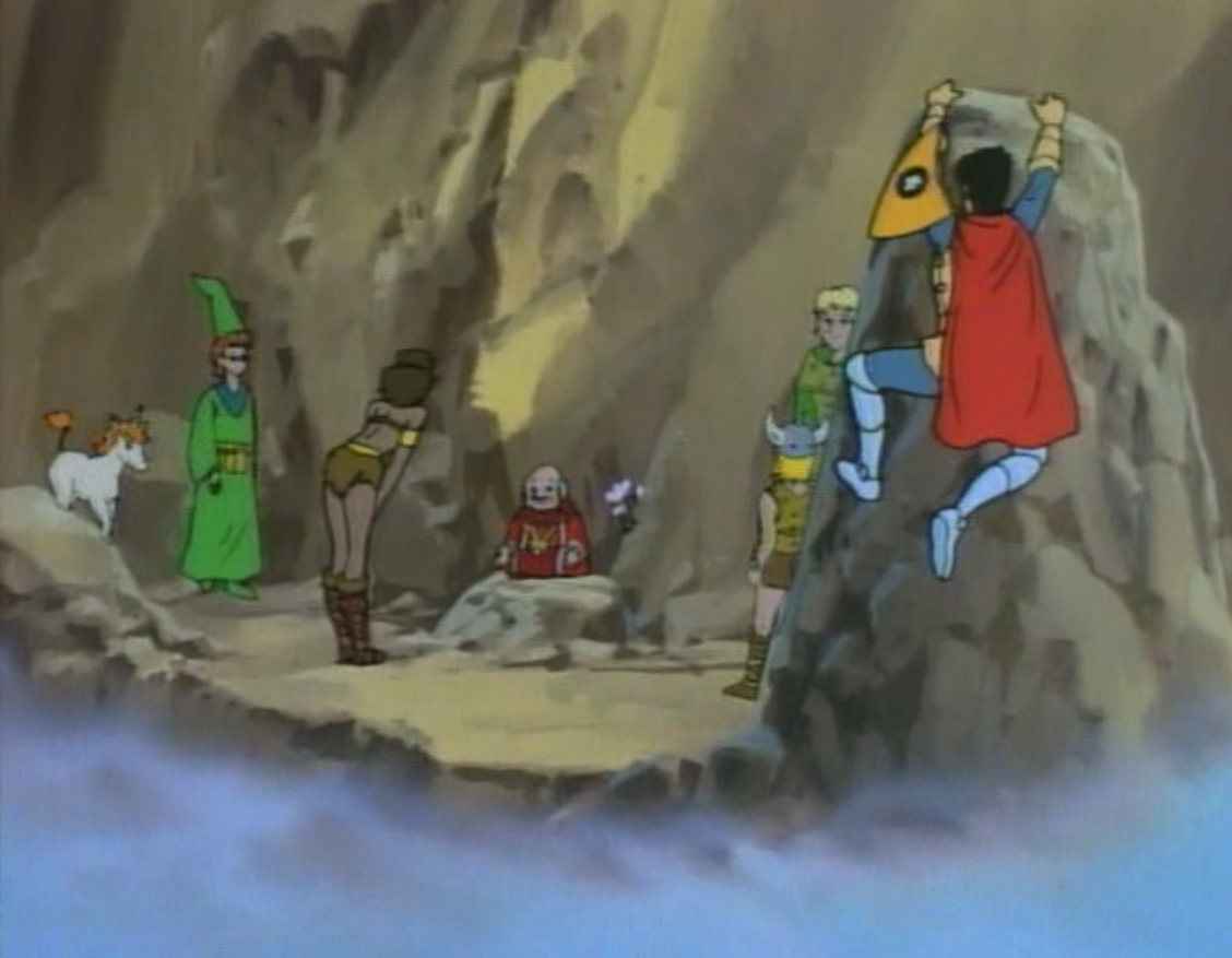 Eric hangs from an outcropping while everyone else watches Dungeon Master