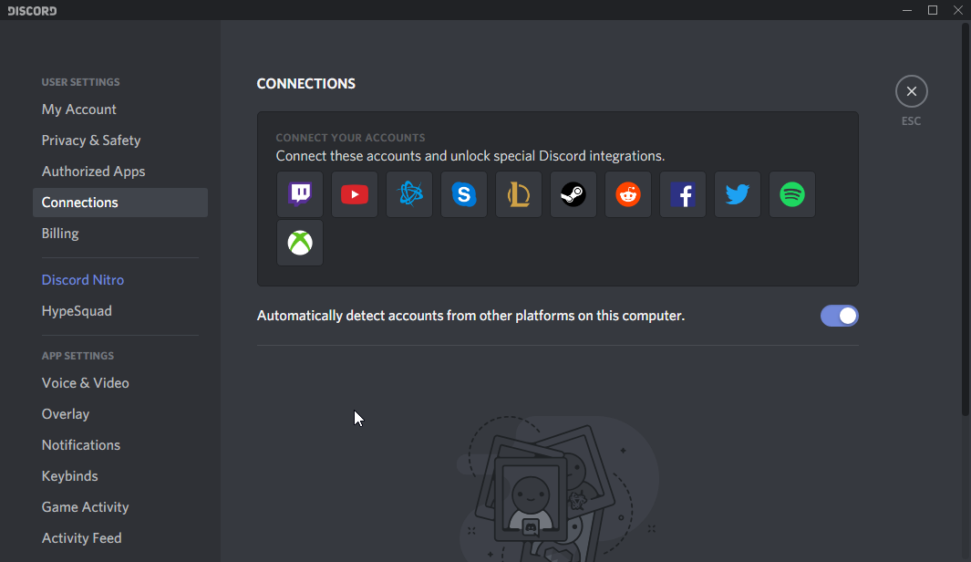 thumbapps.org Discord portable, User settings > Connections