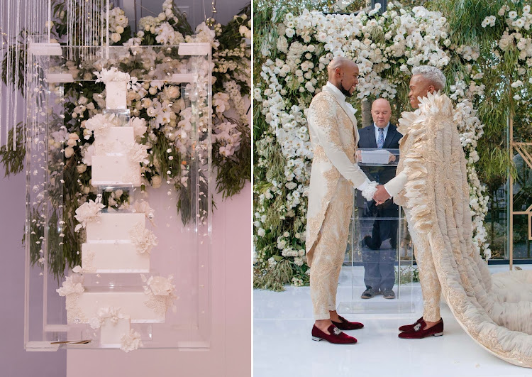 Grooms Somizi Mhlongo and Mohale Motaung, and the dreamy 'floating' cake they had at their white wedding reception.