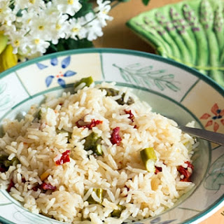 Jasmine Rice Pilaf with Asparagus and Sun-dried Tomatoes.