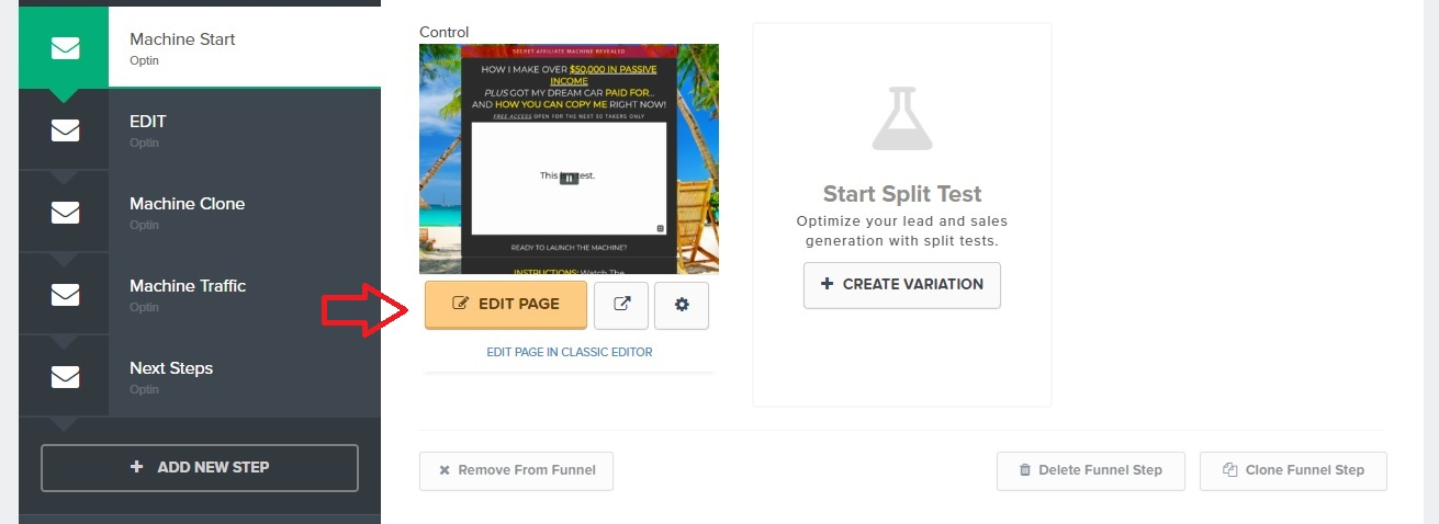 Clickfunnels Edit Page in Funnel