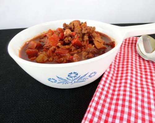 """Recipe Here: Blazin' BBQ Traditional Red Chili """"The combination of meats is..."""