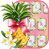 Pink Flamingos Pineapple Keyboard