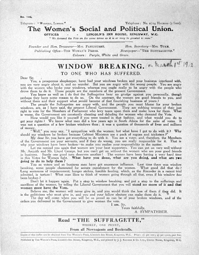 Leaflet, Window Breaking To One who has suffered