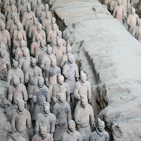 Terra Cotta Warriors by Bonnie Davidson - Artistic Objects Antiques ( army, photograph, statues, terra cotta warriors, xian, men, travel, artistic objects, historic, china, antiques,  )