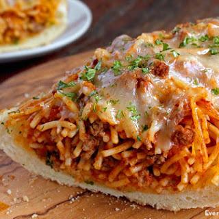 Garlic Bread Spaghetti Sandwich.
