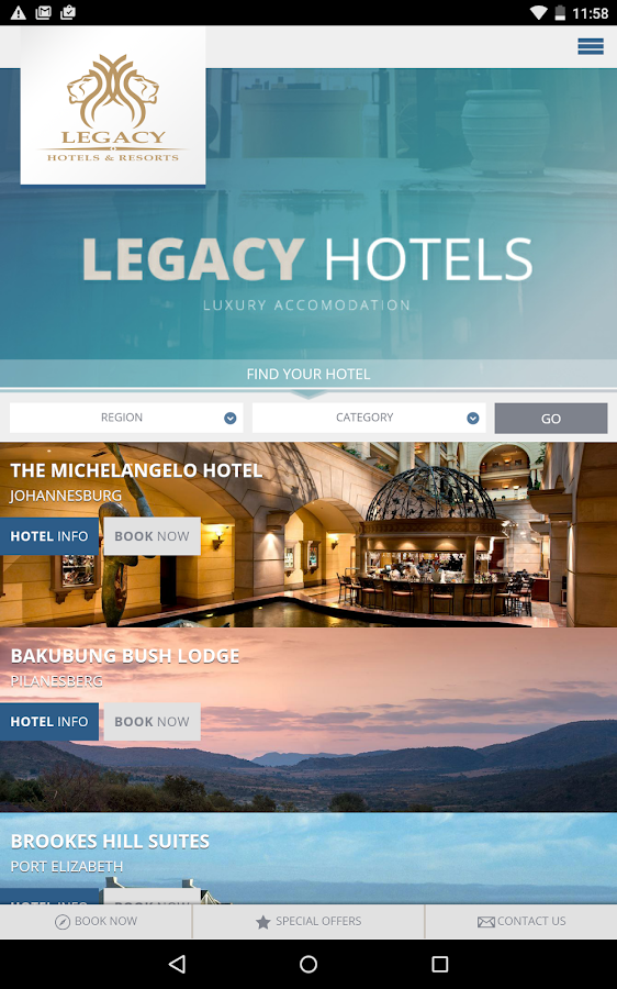 Legacy Hotels and Resorts- screenshot