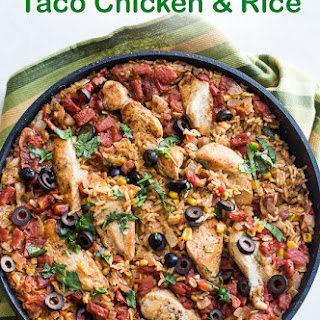 One-Pot Taco Chicken and Rice (Arroz con Pollo).