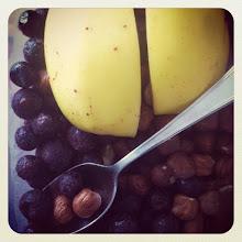Photo: Frugal breakfast: apple, frozen blueberries & filberts #intercer #hazelnut #food #beautiful #pretty #happy #breakfast #brown #sweet #sweets #nuts #food #delicious #dessert #yum #eat #yummy #filberts #love #blueberry #spoon - via Instagram, http://instagr.am/p/SbLkjapfq8/