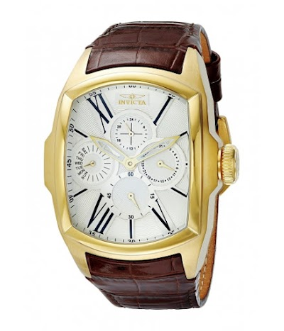 Ceasuri Barbati Invicta Watches Invicta Men's 18899 Lupah 18k Gold Ion-Plated Stainless Steel Watch with Brown Leather Band SilverBrown