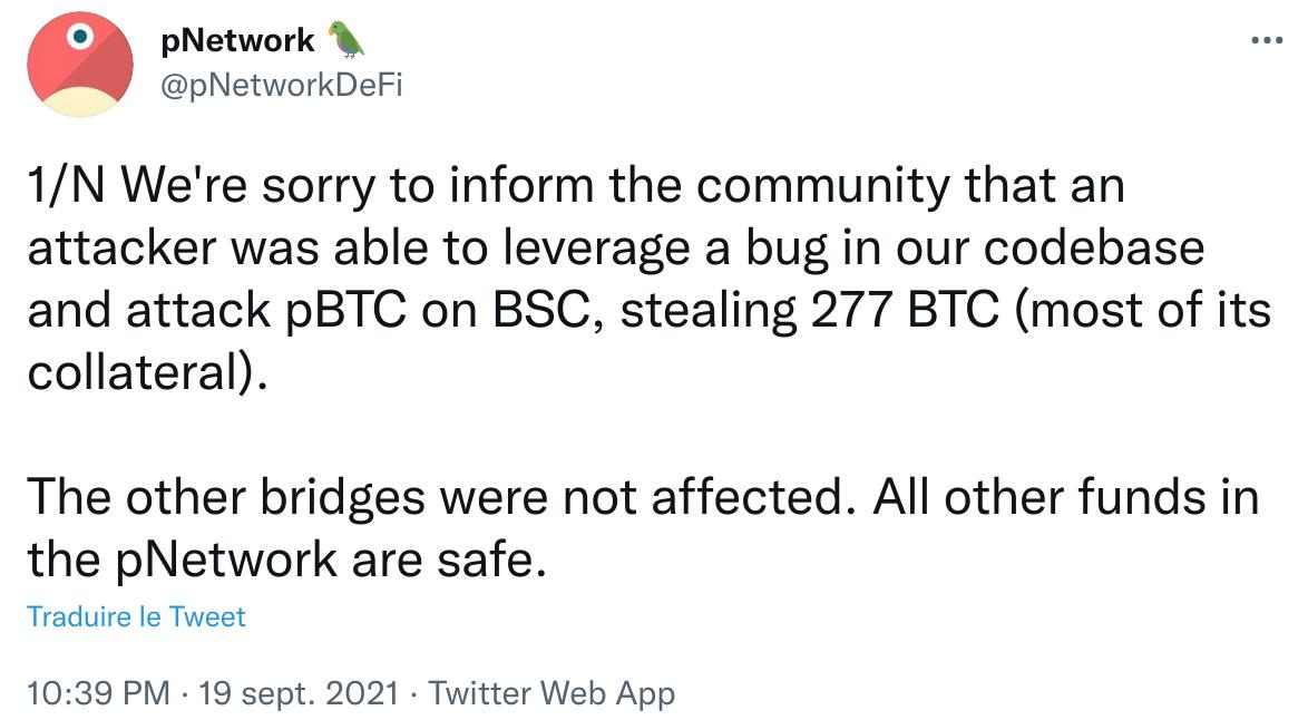 Publication Twitter de pNetwork annonçant le hack de 12 millions de dollars