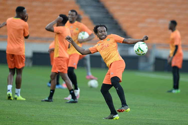 Percy Tau during a Bafana Bafana training session at FNB Stadium on March 23 2021 in Johannesburg.