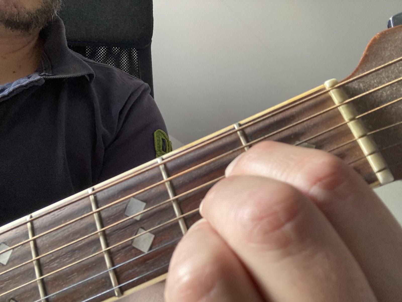 A major chord on guitar