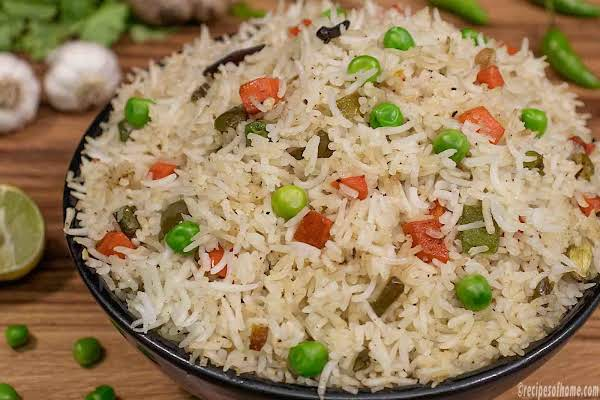 Veg Fried Rice Served In A Black Bowl