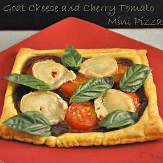 Goat Cheese and Cherry Tomato Mini Pizzas.
