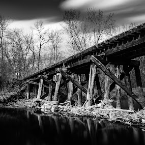 Old Line by D L - Black & White Objects & Still Life ( wisconsin, area, rails, tiffany bottoms, trail, state, rail, train, bridge, natural )